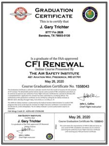 Gary Trichter 2020 CFI renewal AOPA_eFIRC graduation certificate